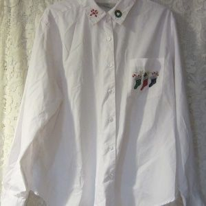 Christmas button up blouse size  XL